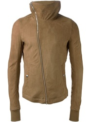 Rick Owens Hooded Biker Jacket Brown
