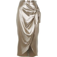 River Island Silver Metallic Tie Front Wrap Skirt