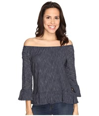 Sanctuary Juliana Off The Shoulder Top Marine Milk Stripe Women's Long Sleeve Pullover Black