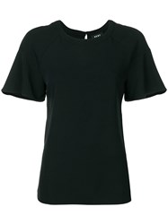 Dkny Ruffle Sleeve T Shirt Black