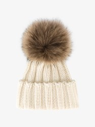 Inverni Racoon Fur Bobble Hat Nude And Neutrals
