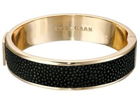Cole Haan Wide Hinged Leather Inlay Bangle Gold Black Caviar Bracelet