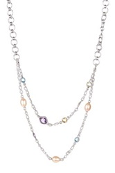 Dani G Jewelry Sterling Silver Multi Strand Gemstone And 10Mm Freshwater Pearl Necklace