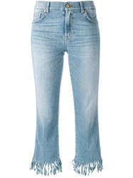 7 For All Mankind Frayed Cropped Jeans Blue