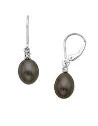 Lord And Taylor Black Pearl Drop Earrings With Diamond Accent In 14 Kt. Yellow Gold .01 Ct. T.W. 8 Mm 14K White Gold
