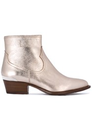 Buttero Metallic Grey Ankle Boots Women Leather 38