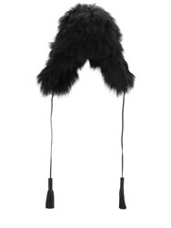 Sonia Rykiel Chapka Long Fur Hat Black
