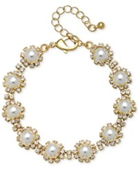 Jewel Badgley Mischka Gold Tone Crystal And Imitation Pearl Link Bracelet
