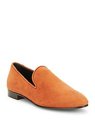 Tod's Solid Almond Toe Leather Loafers Orange