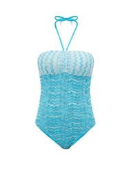 Missoni Mare Zigzag Knitted Mesh Swimsuit Blue