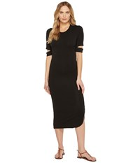 Culture Phit Quinn Luxe French Terry Midi Dress With Sleeve Cut Outs Black Women's Dress