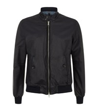 Jacob Cohen Leather Zip Bomber Jacket Male Navy