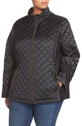 Plus Size Women's Laundry By Design Quilted Jacket With Detachable Hood Black