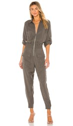 Atm Anthony Thomas Melillo Washed Silk Long Sleeve Utility Jumpsuit In Green. Olive Drab