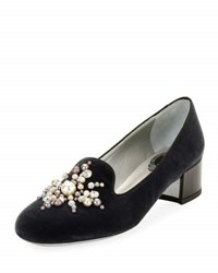 Rene Caovilla Pearly Beaded Velvet Loafer Pump Gray Pattern