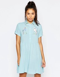 Lazy Oaf Button Front Shirt Dress With Retro Bird Print Blue