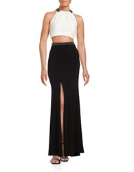 Xscape Evenings Embellished Cropped Top And Maxi Skirt Set Ivory Black