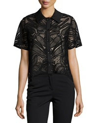 Alexis Lettie Short Sleeve Abstract Mesh Knit Top Black