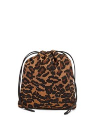 Miu Miu Leopard Print Drawstring Make Up Bag Leopard