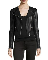Joie Iridessa Asymmetrical Zip Leather Jacket Caviar
