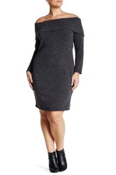 Loveappella Off The Shoulder Bodycon Dress Plus Size Gray