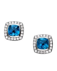 David Yurman Petite Albion Earrings Blue Topaz 7Mm Dark Blue