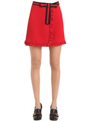 Gucci Ruffled Gabardine Skirt With Bow