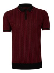 Peter Werth Red And Black Woven Polo Neck T Shirt