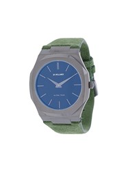 D1 Milano Ultrathin Watch Suede Steel Green