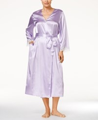 Morgan Taylor Plus Size Lace Trim Long Satin Robe Only At Macy's Hydrangea Petal