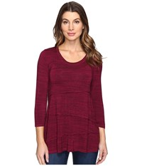 Mod O Doc Space Dye Rayon Spandex Jersey Raw Edge Seamed Tee Cranberry Heath Women's T Shirt Red