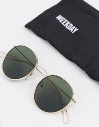 Weekday Explore Round Sunglasses With Green Lenses Gold