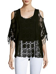 Saks Fifth Avenue Black Prairie Cold Shoulder Lace Top Black