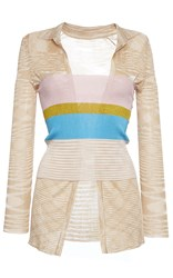 Missoni Twin Set Long Sleeve Shirt And Tube Top White Gold Pink