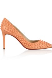 Christian Louboutin Pigalle Spikes 85 Leather Pumps Orange