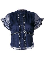 Jupe By Jackie Embroidered Organza Shirt Silk Blue