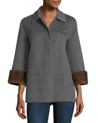 Neiman Marcus Luxury Double Faced Cashmere Cropped Jacket W Rabbit Fur Cuffs Heather Grey
