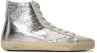 Golden Goose Silver Metallic Francy High Top Sneakers