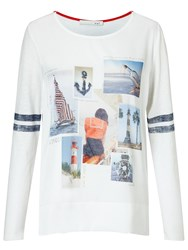 Oui Nautical T Shirt White Blue