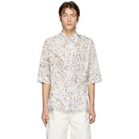 Christophe Lemaire White And Multicolor Convertible Collar Short Sleeve Shirt
