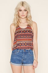 Forever 21 Ornate Print Knotted Back Tank