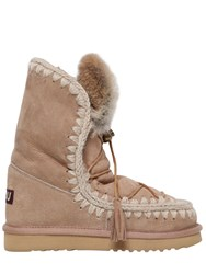 Mou 20Mm Eskimo Rabbit Fur Lace Up Boots