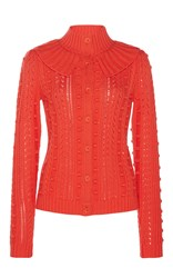 Manoush Ruffled Cableknit Cardigan Orange