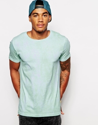 Asos T Shirt With All Over Tie Dye Print And Rolled Sleeve Palegreen