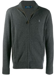 Ralph Lauren Zip Up Logo Cardigan Grey