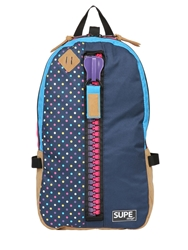 Supe Design Polka Dot Printed Techno Canvas Backpack Multi