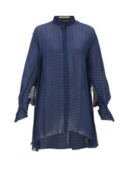 Roland Mouret Staten Batwing Sleeve Pleated Crepe Blouse Navy