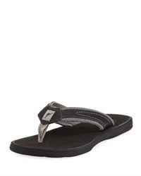 Tommy Bahama Sumatraa Leather Thong Flat Sandal Black