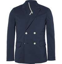 Beams Plus Blue Slim Fit Double Breasted Seersucker Blazer Blue