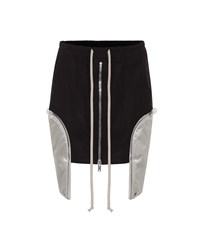 Rick Owens Stretch Cotton Asymmetric Miniskirt Black
